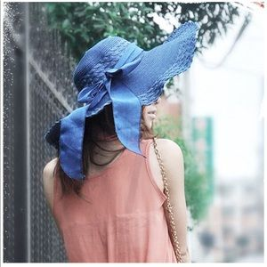 Accessories - BOW-TIED Oversized Shade floppy hat